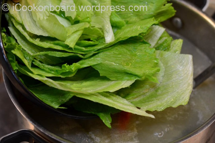 Add green leafy vegetable.{Petchay, Chinese cabbage or even the outer leaf of Iceberg lettuce.