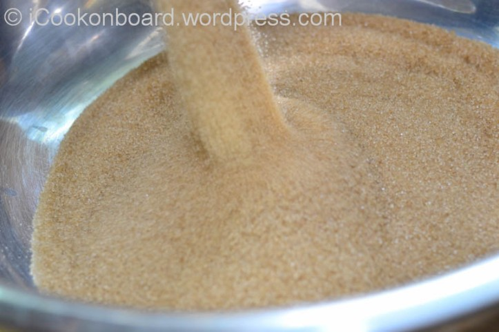 Pour the brown sugar in a large mixing bowl.