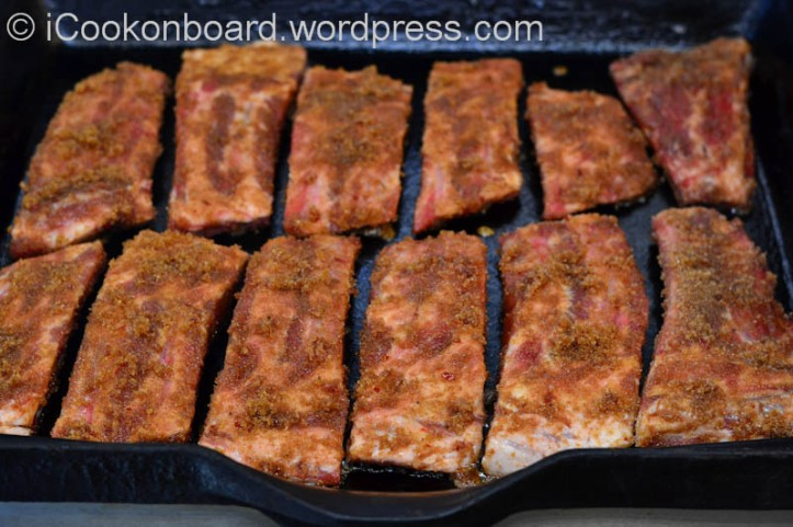 Caramelizing the marinade will only take a couple of minutes on each side of the ribs.