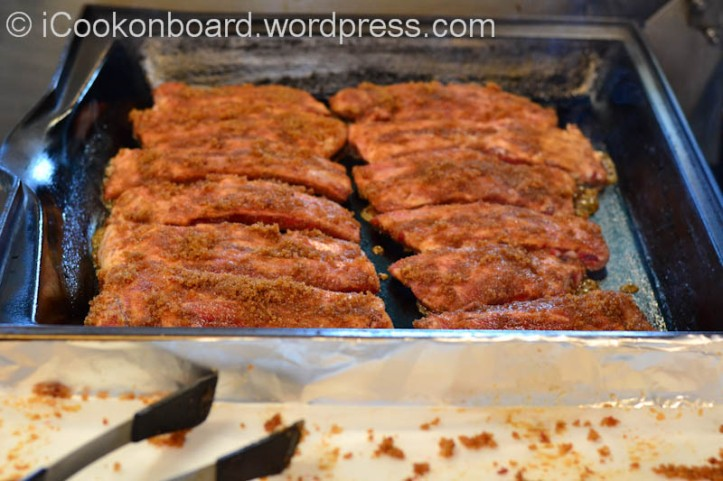 Fry the ribs inside part first.