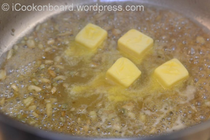 When the softdrinks had reduced, add and melt the unsalted butter.