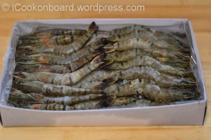 We normally use frozen seafoods onboard. This is a 1kg. packet, but only 800grms. of prawns when thawed.
