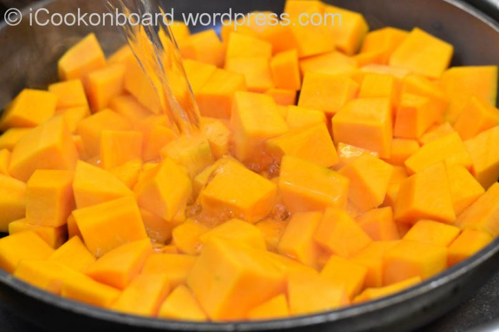 Place the Pumpkin on a non-stick frying pan, add the water and bring it to a boil on very high heat.