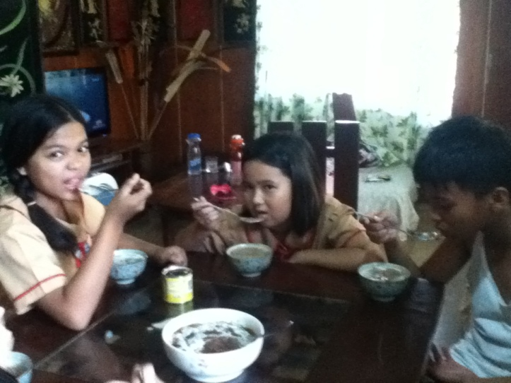 Our group enjoy our Hot Champorado.