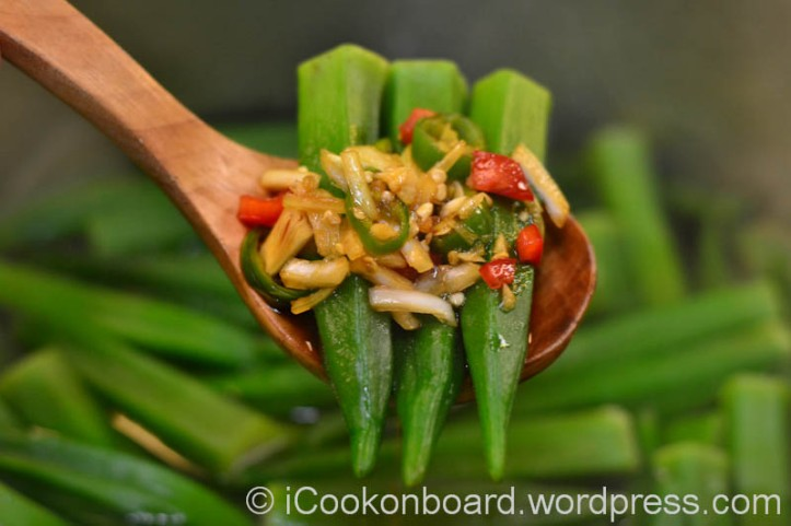 Boiled Okra with Garlic Soya Dip. Photo by Nino Almendra