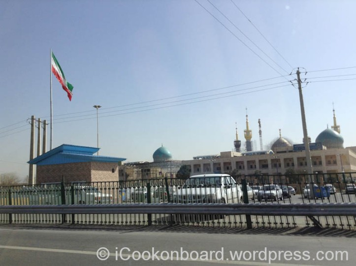 Iranian Flags on Goverment buildings are huge and very high. Tehran, Iran