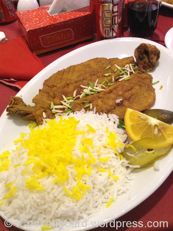 My lunch. Roasted Trout with Iranian Rice. Babataher Hotel. Tehran, Iran.