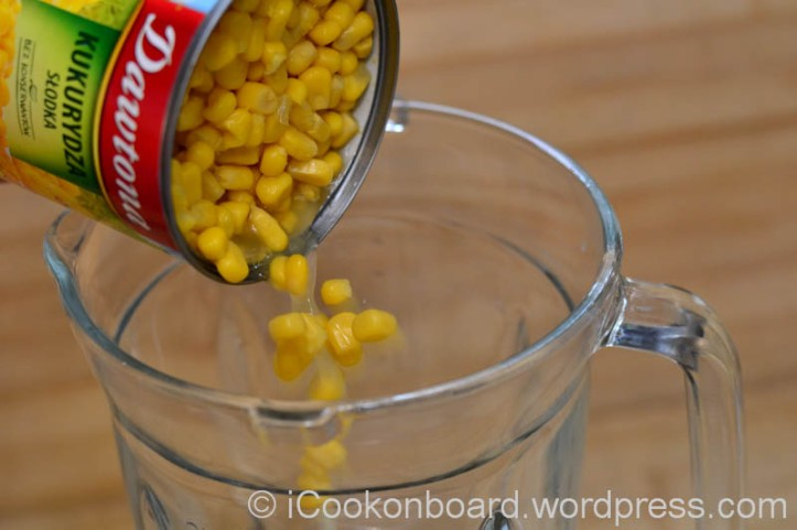On a blender, put 1 can sweet corn kernel.