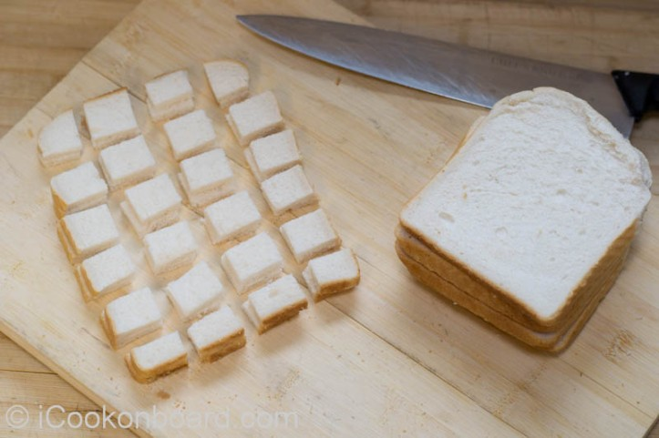 Cubed sliced bread for Croutons