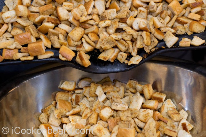 Croutons is ready when it is nicely crisp and golden brown. Transfer to a bowl and let it cool.