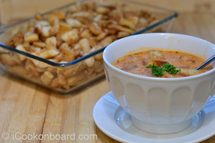 Fresh and Creamy Tomato Soup with Croutons Photo by Nino Almendra