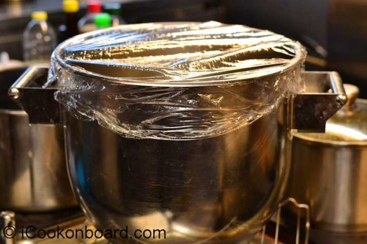 Cover with plastic film wrap or a damp cloth and let it rise for 1-2 hours or until double in bulk.