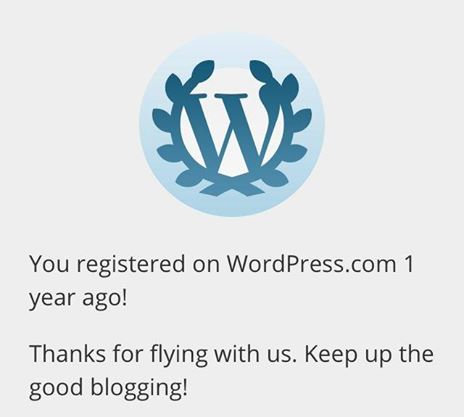 Wordpress Greeting on iCookonboard 1st Blogganniversary