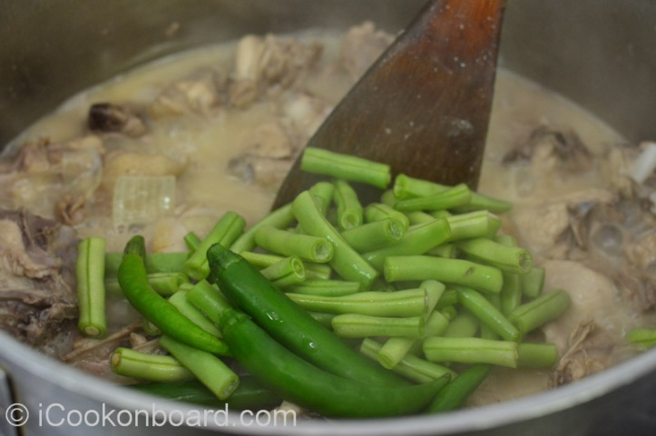 Add the cut beans, green chilli long.