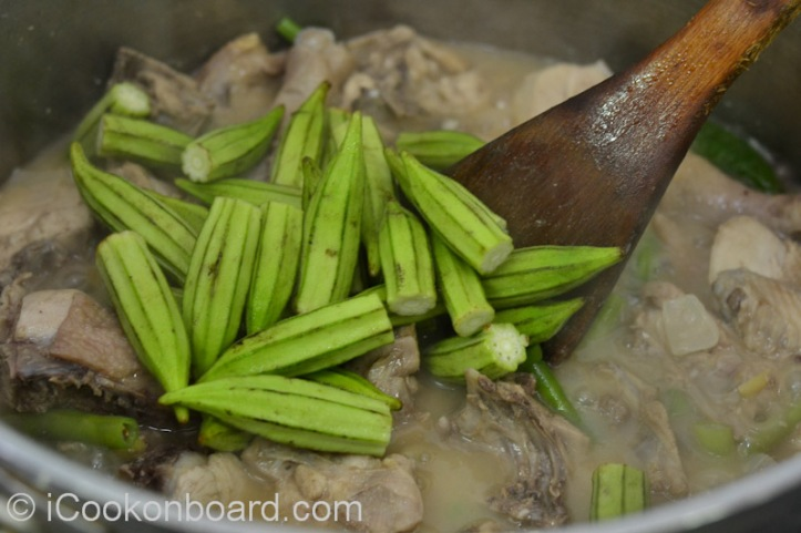 ... and okra. Let it cook for few minutes.