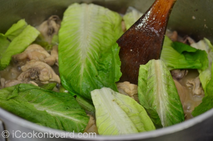 Lastly add the cos/romaine lettuce.