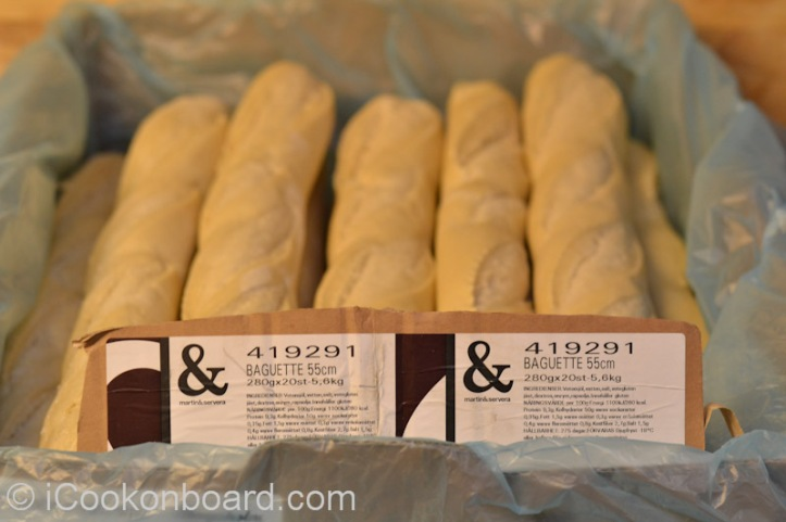 Ordering Info for the Cooks Onboard: 1Box of Baguettes is 20pcs. x 280grms.(55cm long)  The whole box cost around 20 U.S. dollars.