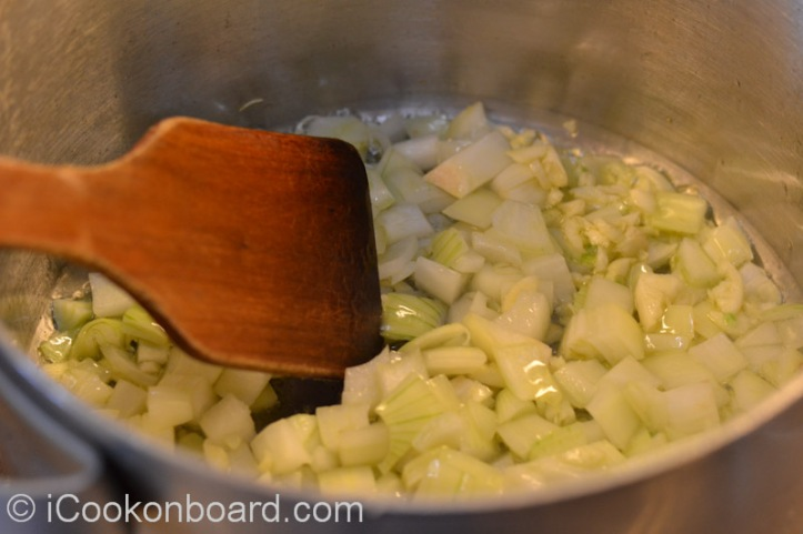 Sauté garlic and onions for a couple of minutes.