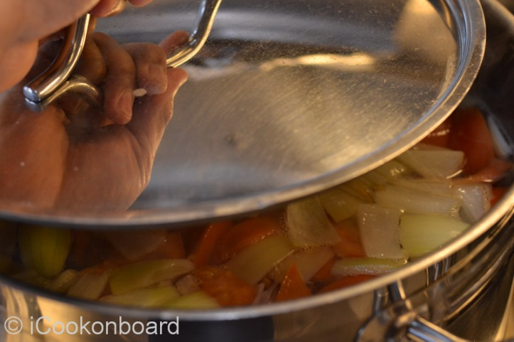 Bring it back to a boil and cover with lid for at least 10 minutes or until the tomatoes have softens.