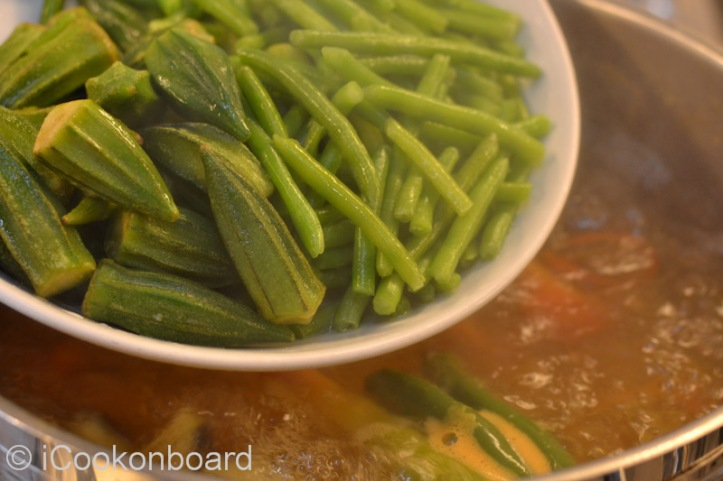 Add the green beans and okra.