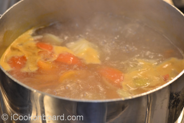 bring the soup back to a boil. Using a soup laddle skim off and discard the scum that will float.