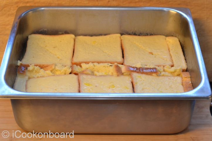 Keep aside for 15 minutes to evenly soak the bread with the egg and milk mixture.