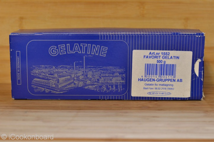 A box of Gelatine sheets. Each box contains 500 grams of gelatine sheets.