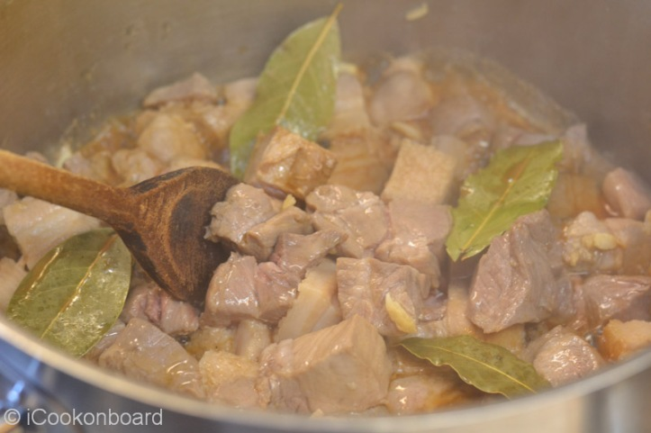 Place on very high heat, stir occasionally to avoid the pork from burning.
